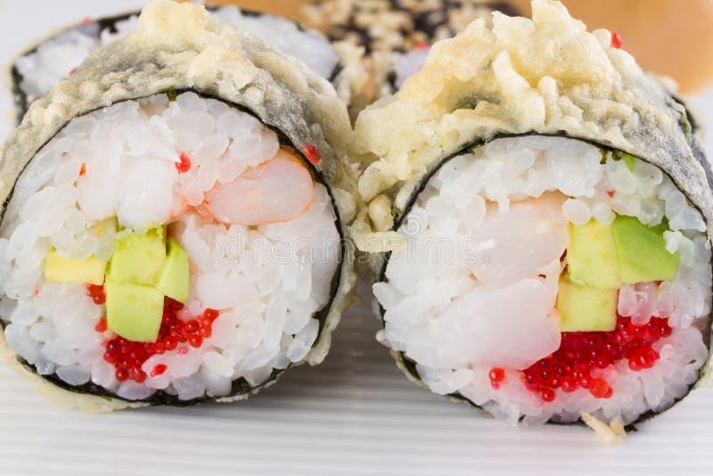 Sushi roll in tempura royalty free stock photography