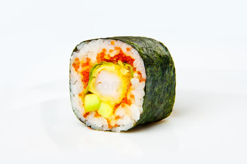 Sushi roll with tiger shrimp tempura stock photography