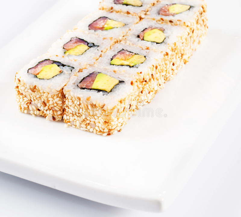 Download Sushi roll on white plate stock photo. Image of meat - 27444650