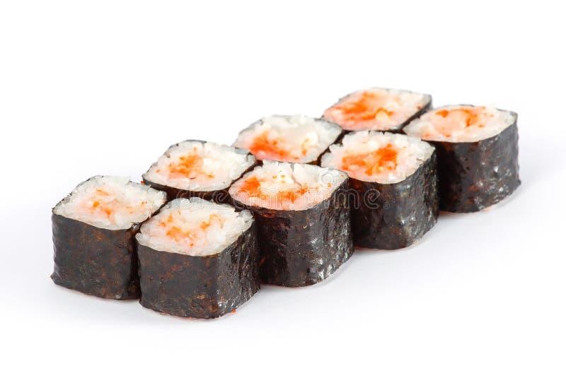 Sushi-Rolle - Maki Sushi mit der geräucherten Aal-, Avocado-und Gewürz-Soße lokalisiert auf weißem Hintergrund stockbild