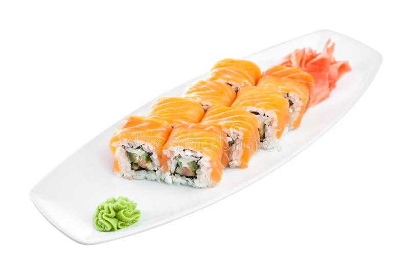 Sushi (Rollenunagi maki syake) lizenzfreies stockbild