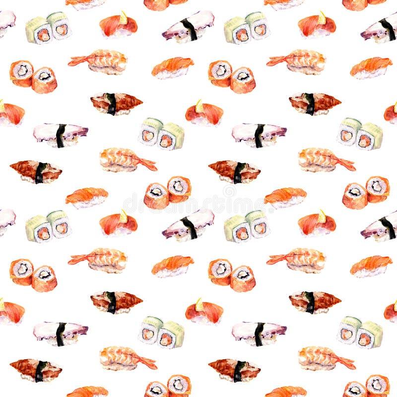Sushi, rollo que repite el modelo inconsútil de los mariscos watercolor stock de ilustración