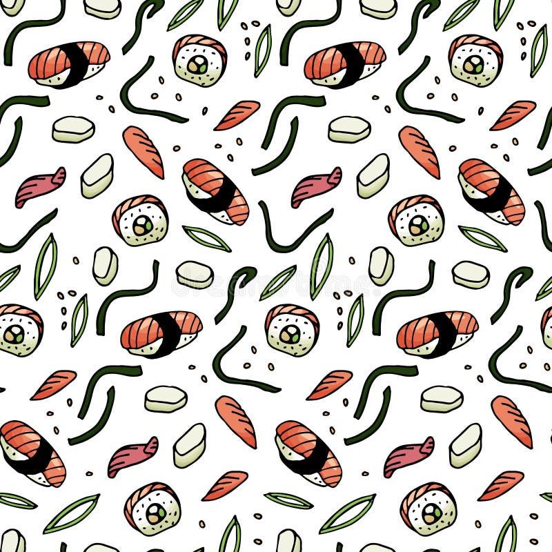 Sushi, rollos, modelo inconsútil del estilo del garabato de la alga marina Cocina asiática libre illustration