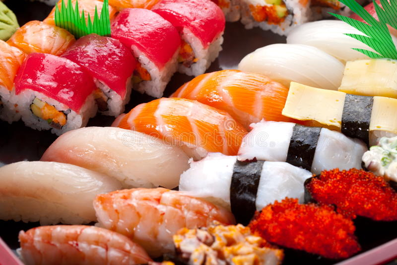 Sushi and rolls stock image