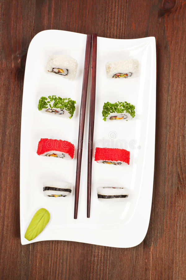 Download Sushi rolls. stock photo. Image of dinner, pieces, plate - 20085416