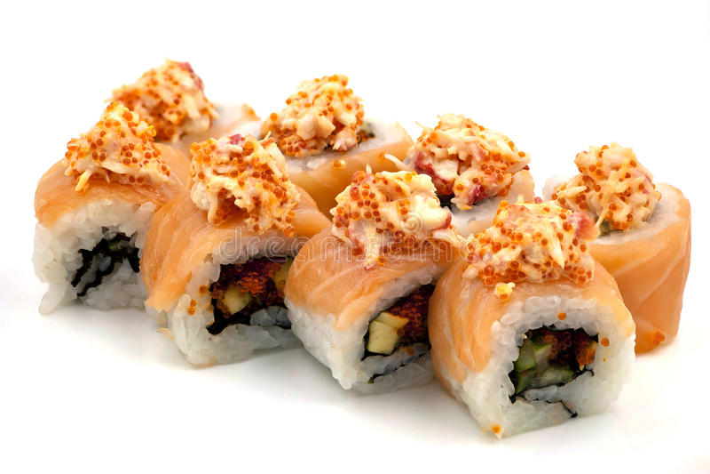 Sushi Rolls avec le crabe photo stock