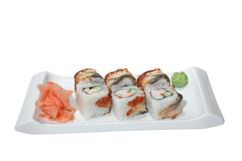 Sushi (rolls) with crab, cucumber and smoked eel stock photo