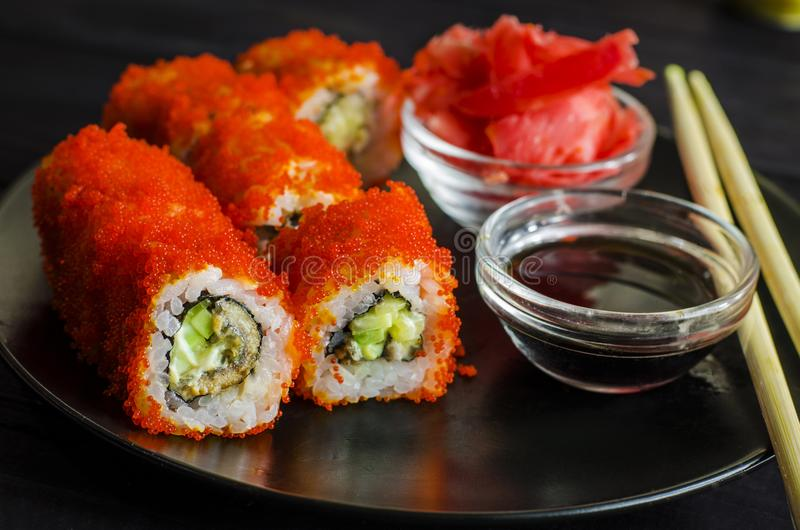 Sushi rolls with eel royalty free stock photos