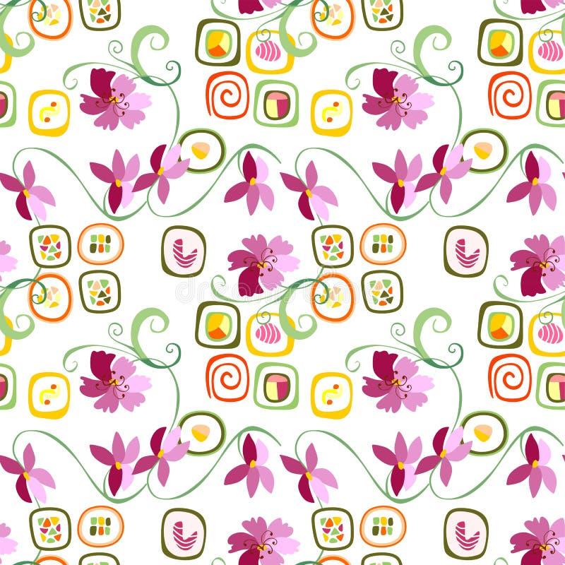 Sushi rolls and flowers. Sushi rolls and flowers seamless pattern. Vector illustration royalty free illustration