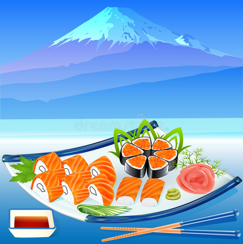 Of Sushi Rolls With Greenery On The Background Of Royalty Free Stock Photos