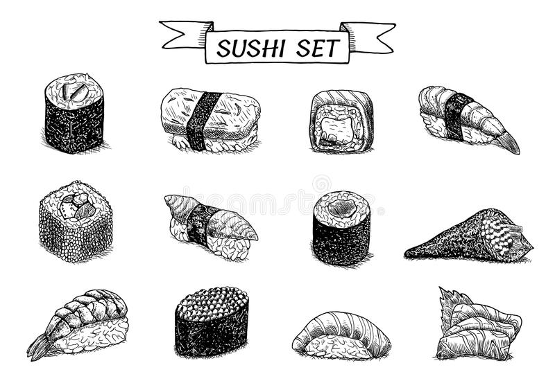 Sushi and rolls hand drawn illustration. stock images