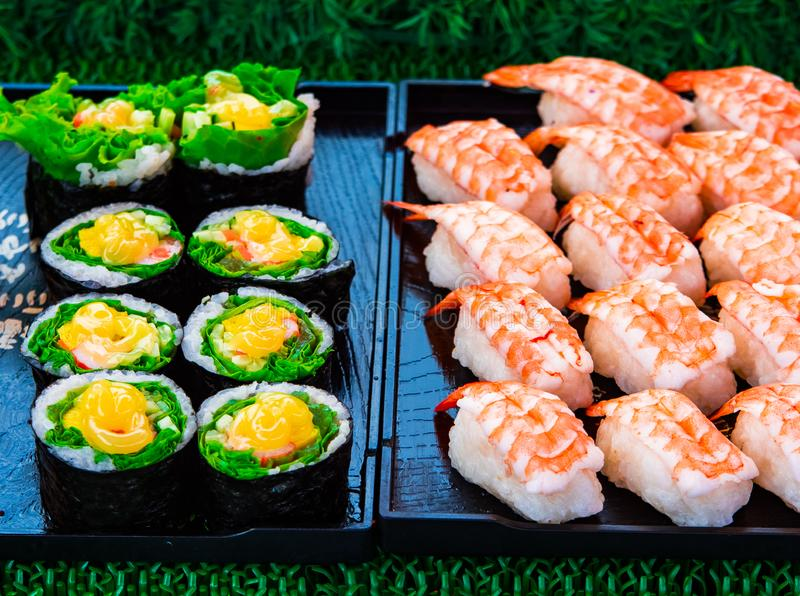 Sushi rolls japanese delicacy. Japanese traditional food from rice and fish or sea food, Thailand, Asia stock photo