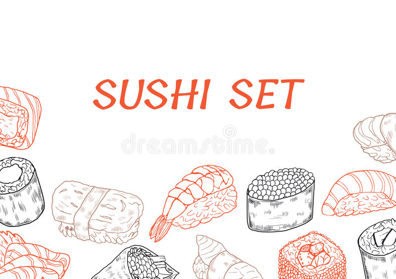 Sushi and rolls line poster stock images