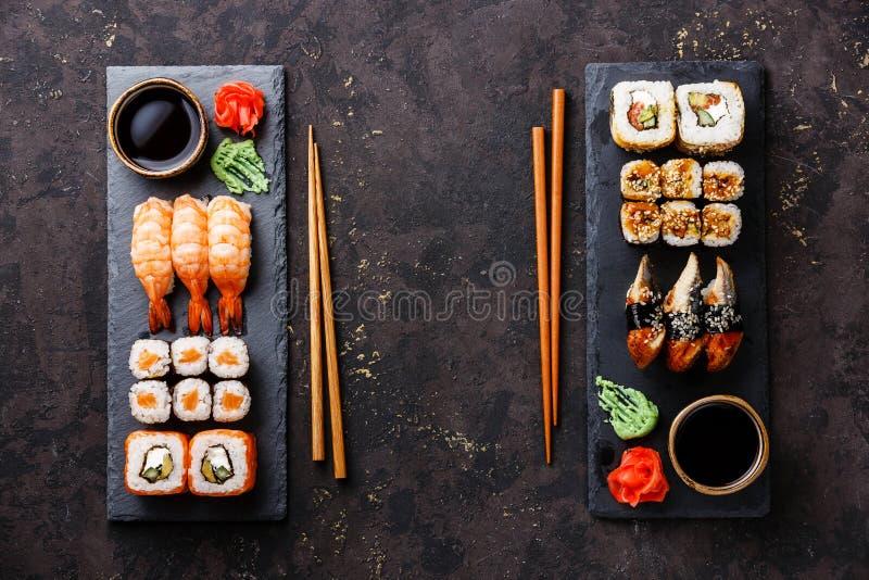 Sushi rolls, maki, nigiri Set served for two stock photography