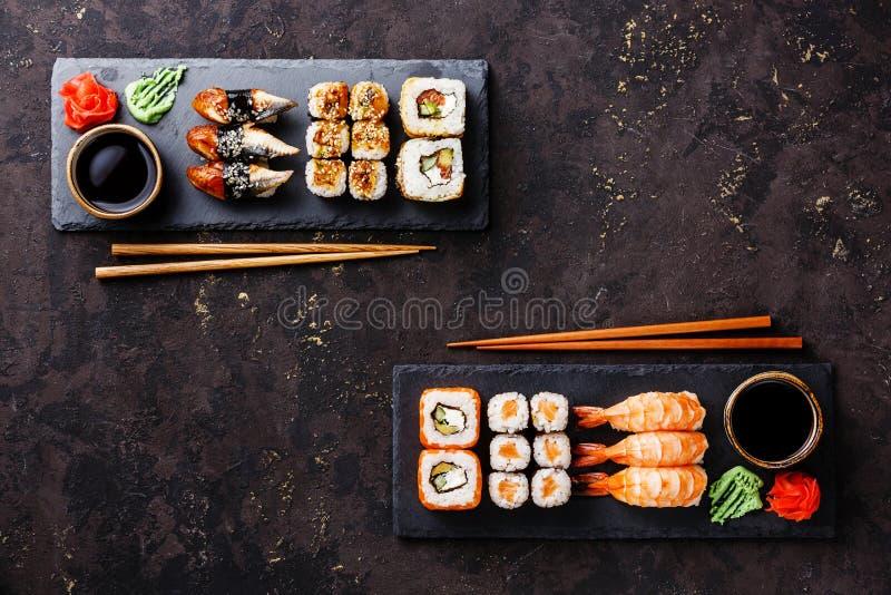 Sushi rolls, maki, nigiri Set served for two royalty free stock photo