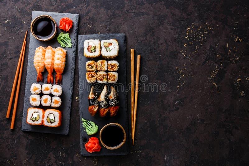 Sushi rolls, maki, nigiri Set served for two royalty free stock image