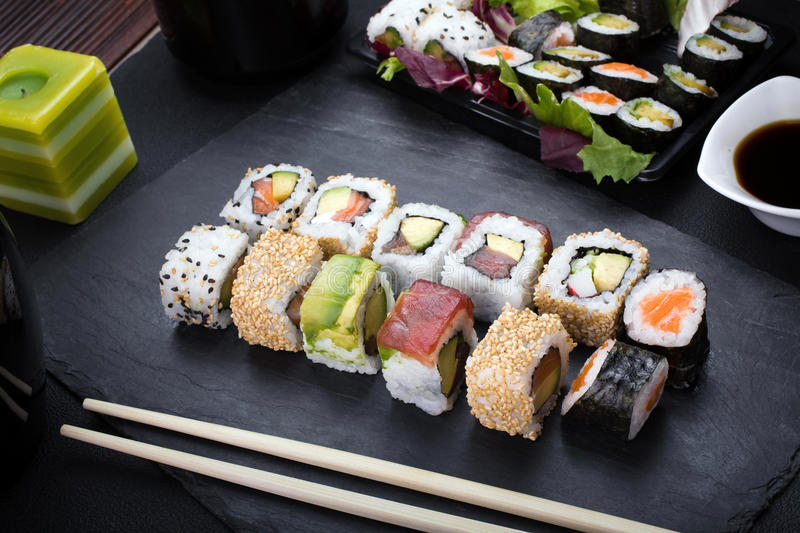 Sushi rolls on plate royalty free stock images