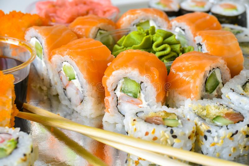 Sushi rolls platter royalty free stock photo