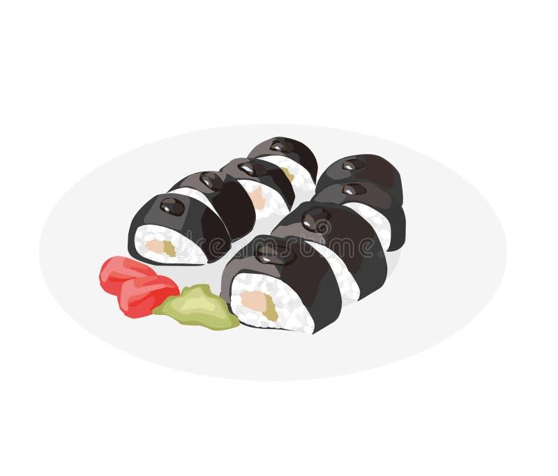 Sushi Rolls Ristorante di cucina dell'Asia delizioso Alimento giapponese Rotolo di sushi con wasabi e lo zenzero illustrazione vettoriale