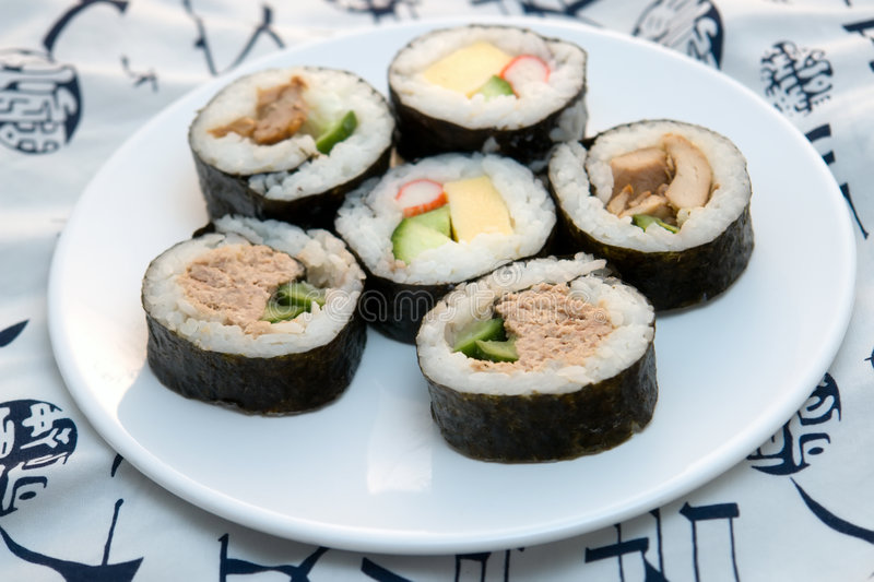 Sushi rolls on round plate royalty free stock photo