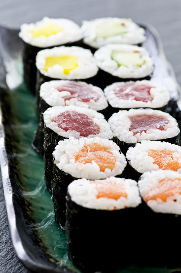 Sushi Rolls with Salmon and Tuna stock photography