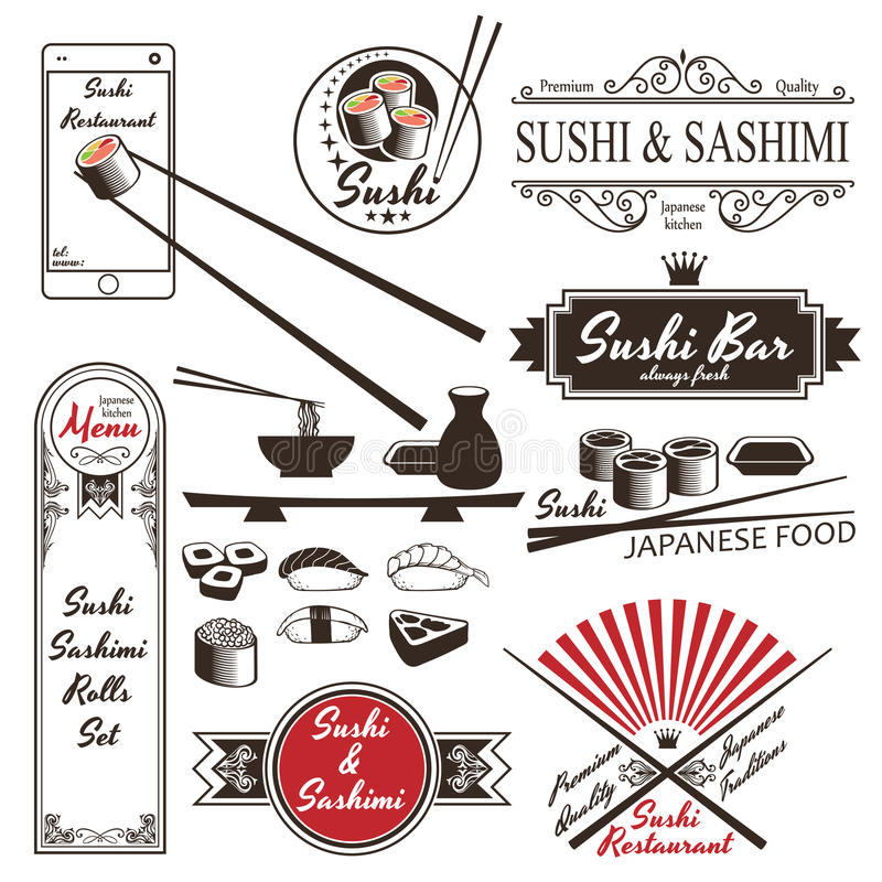 Sushi Rolls Sashimi Retro Vintage Labels. In vector on white background stock illustration