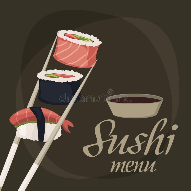 Sushi rolls sashimi seafood fish rice japanese food fresh soy sauce japan meal maki raw background restaurant. Sushi rolls sashimi seafood fish rice japanese royalty free illustration