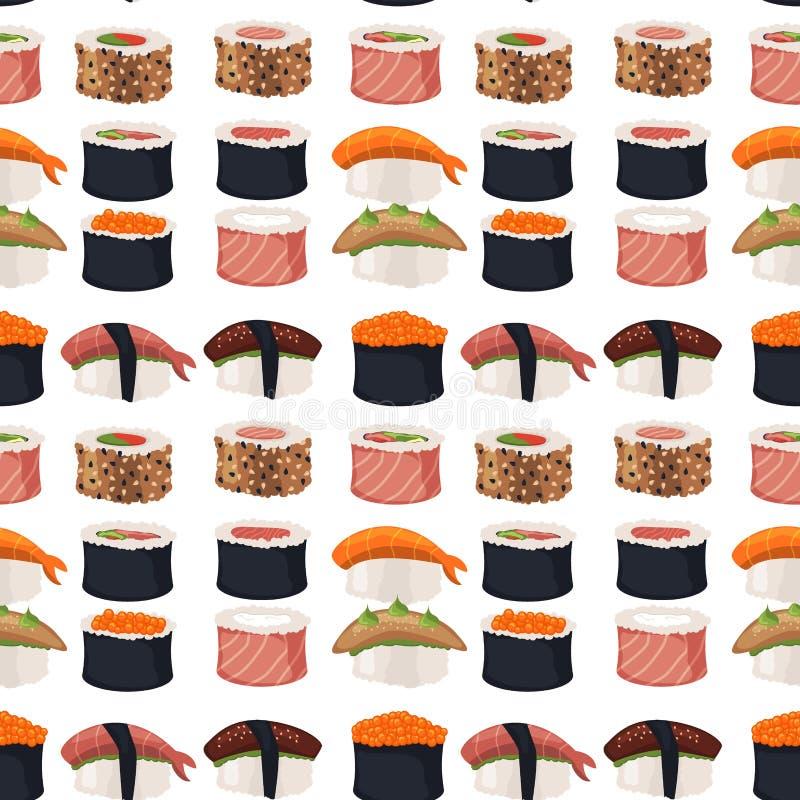 Sushi rolls sashimi seafood fish rice seamless pattern background japanese food fresh soy sauce japan meal maki raw. Sushi rolls set sashimi seafood fish rice vector illustration