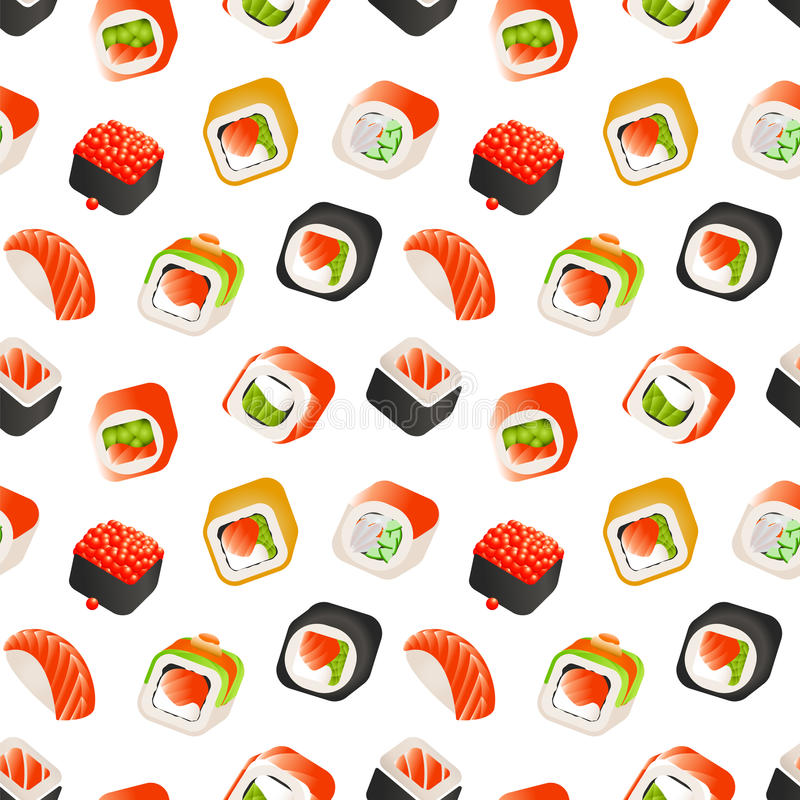 Sushi and rolls seamless pattern, Japanese food vector colorful backround illustration. Wrapping template. vector illustration