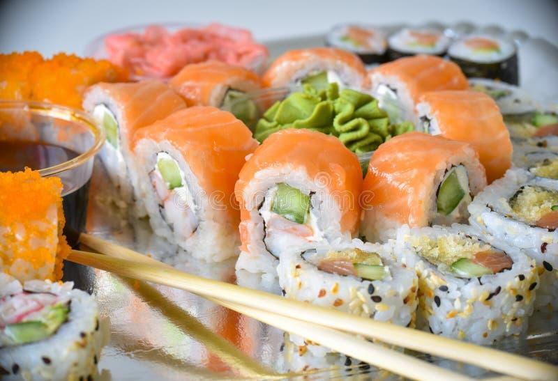 Sushi rolls set stock photo