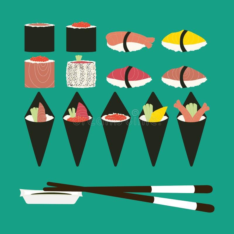 Sushi rolls set illustration. Sushi rolls set. Japanese cuisine. Vector illustration vector illustration