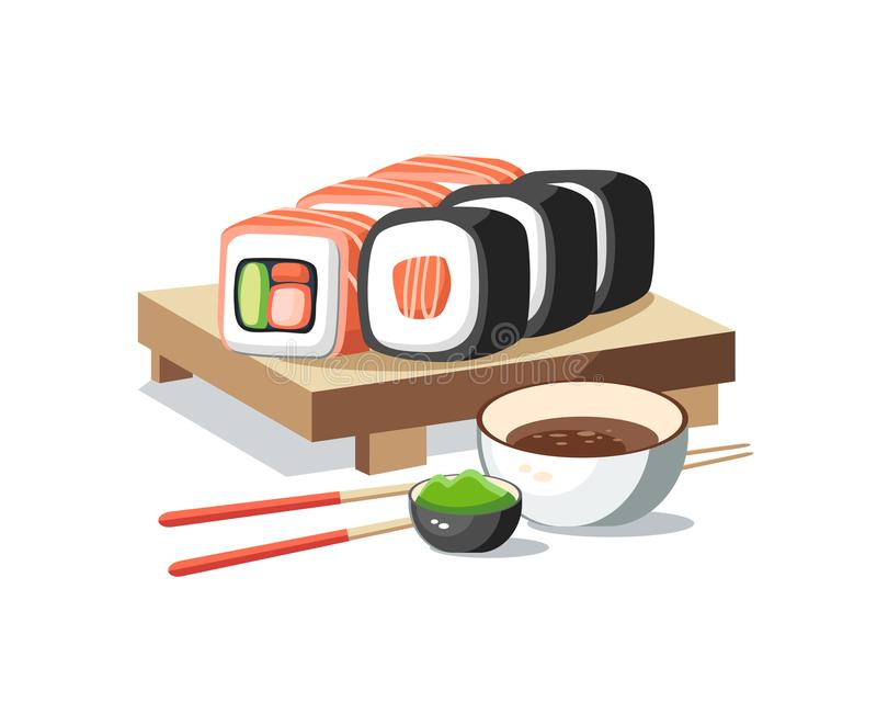 Sushi rolls set lying on the plank tasty delicious with wasabi a. Nd soy sauce royalty free illustration