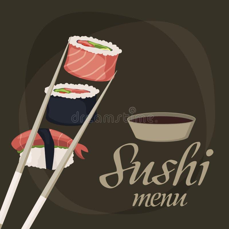 Sushi rolls sashimi seafood fish rice background japanese food fresh soy sauce japan meal maki raw shrimp restaurant. Sushi rolls set sashimi seafood fish rice stock illustration