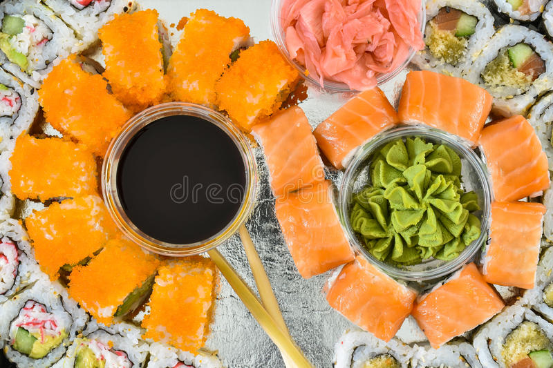 Sushi rolls set, top view stock photography