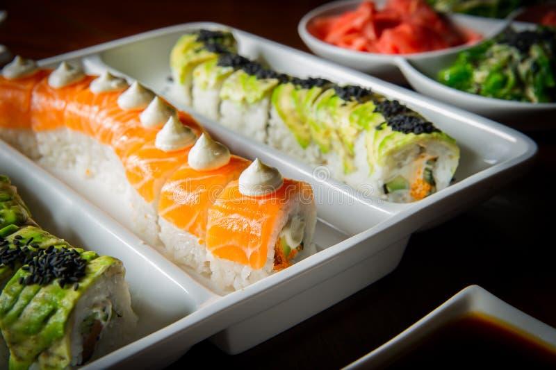 Sushi rolls table setting royalty free stock image