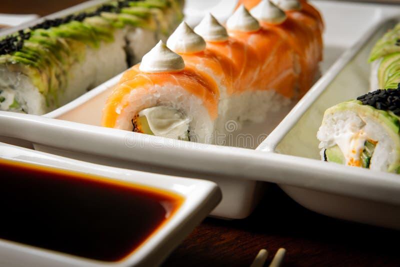 Sushi rolls table setting stock image