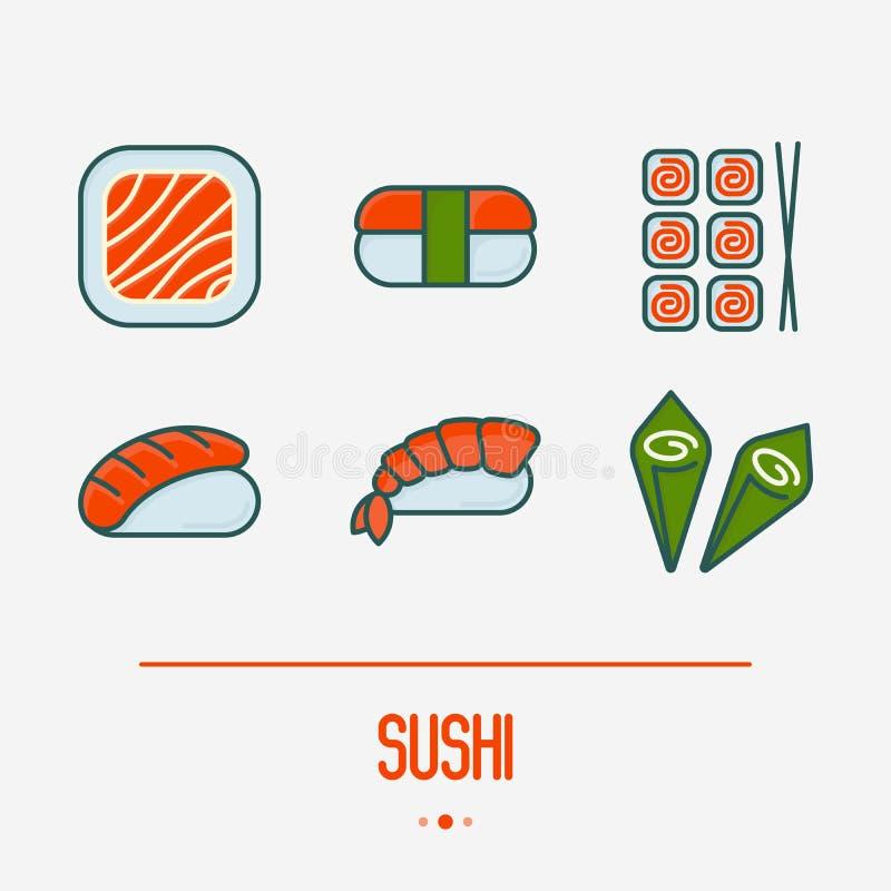 Sushi and rolls thin line icons set stock illustration