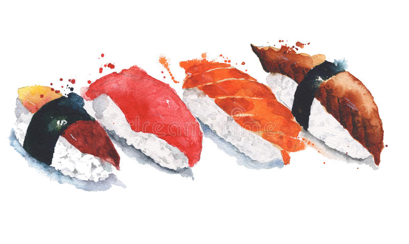 Sushi rolls watercolor painting illustration isolated on white background stock illustration