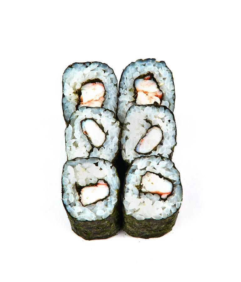 Sushi, rolo de carne do caranguejo no fundo branco Alimento japonês fotografia de stock