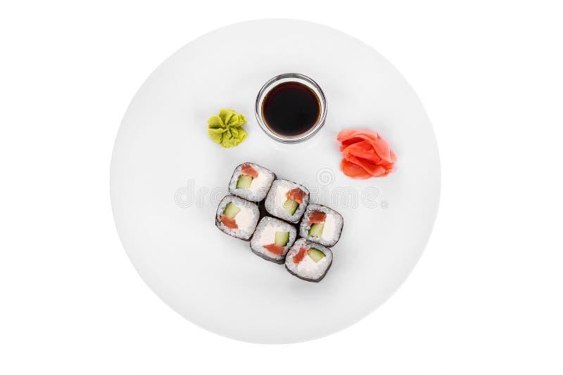 Sushi rullar på en vit isolerade bakgrund royaltyfria foton