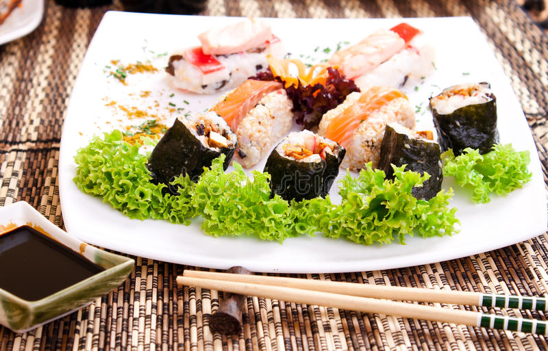 Sushi with salad stock photo