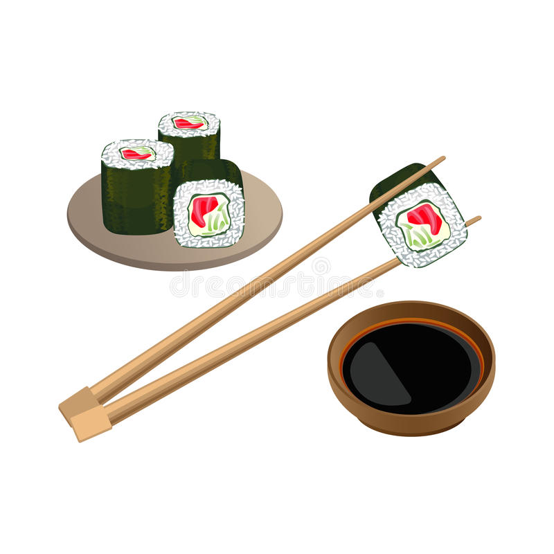 Sushi with salmon in chopsticks above bowl and soy sauce. Sushi with salmon in chopsticks above bowl with soy sauce isolated on white background. Traditional vector illustration