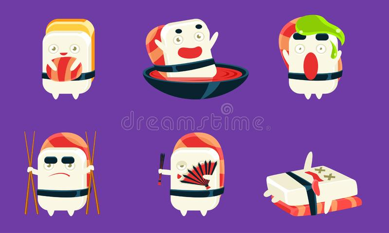 Sushi and Sashimi Cartoon Characters Set, Asian Food, Cute Rolls with Funny Faces and Various Emotions Vector. Illustration, Web Design royalty free illustration