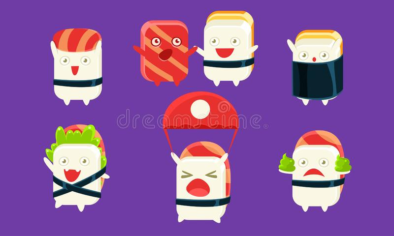 Sushi and Sashimi Cartoon Characters Set, Cute Rolls with Funny Faces in Different Situations and Various Emotions. Vector Illustration, Web Design royalty free illustration