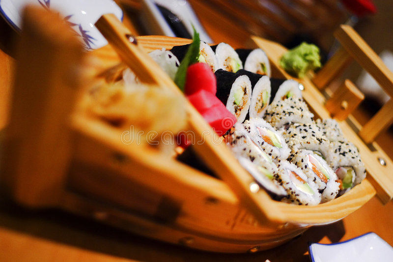 Sushi and sashimi combination stock image