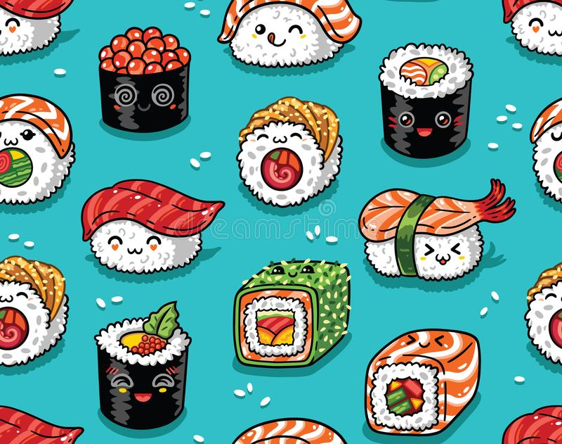 Sushi and sashimi seamless pattern in kawaii style. Vector illustration vector illustration