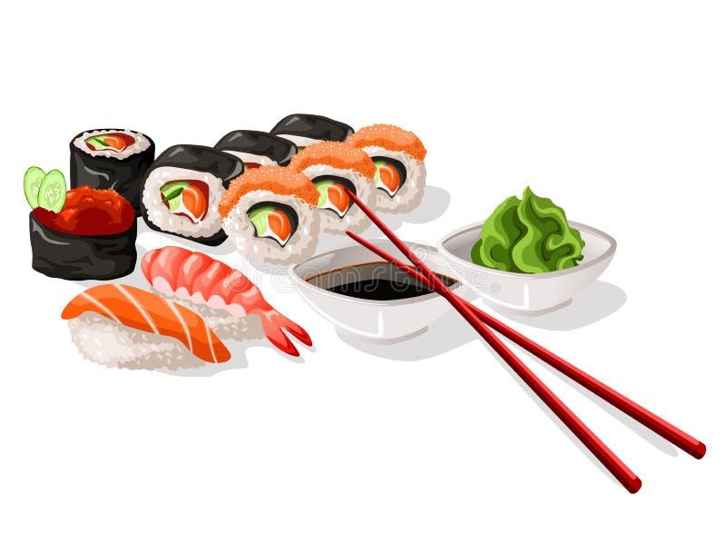 Sushi and sashimi set. Illustration royalty free illustration