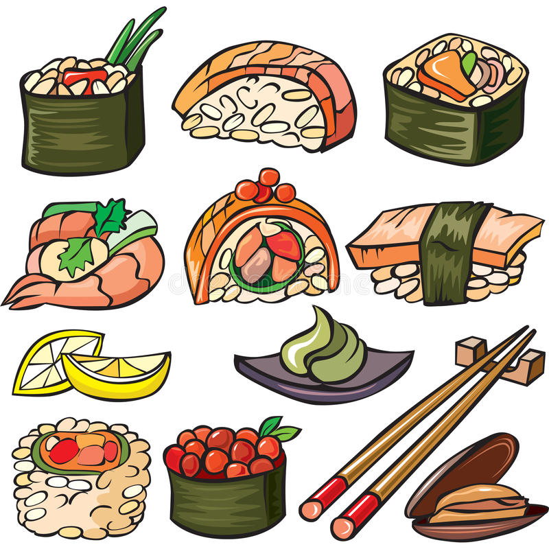Sushi, seafood icon set royalty free stock images