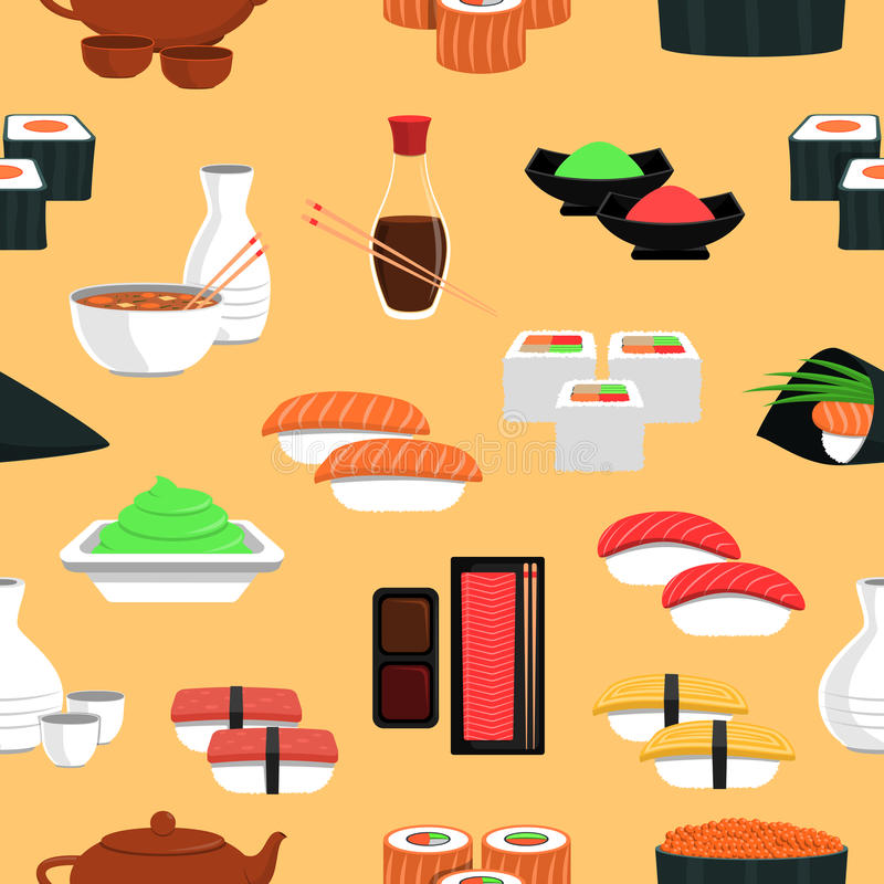 Sushi Seamless Pattern. With rice and fish flat vector illustration vector illustration