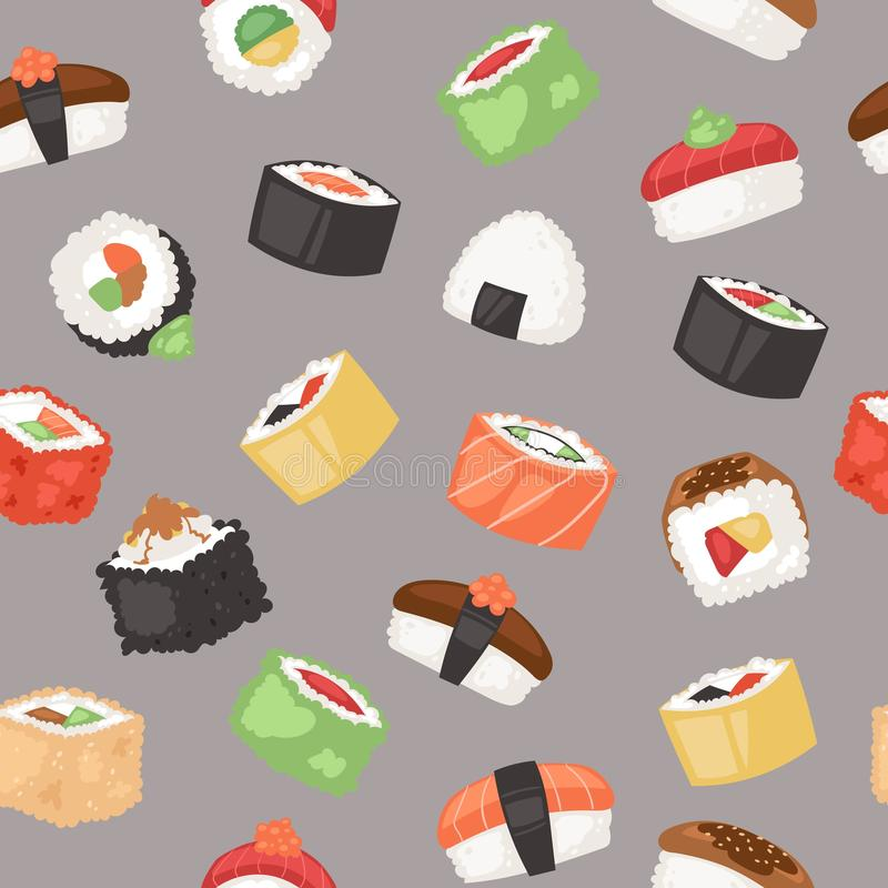 Sushi seamless pattern vector illustration. Japanese cuisine in cartoon style. Asian food wirh rice. Salmon and flying royalty free illustration